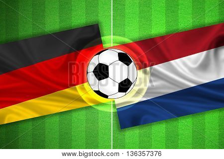 green Soccer / Football field with stripes and flags of germany - netherlands and ball - 3D illustration