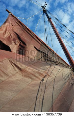 Up to sky shots of the sails of a Traditional Dutch Barge Design Ship also called as s catamaran or clipper ship