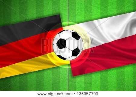 green Soccer / Football field with stripes and flags of germany - poland and ball - 3D illustration
