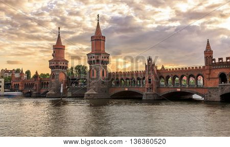 Sunset over the Oberbaum bridge in Berlin, Germany
