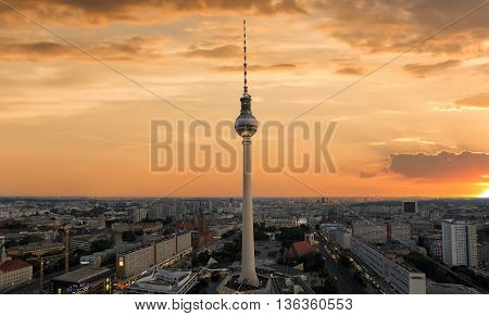 Sunset over the TV Tower in Berlin, Alexanderplatz