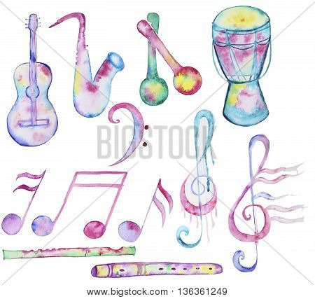Hand-drawn Watercolor music instruments collection isolated on white background. Set of musical signs and music instruments