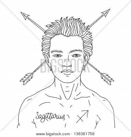 Portrait of a handsome young man. Astrological horoscope sign Sagittarius. The guy with the arrows in their hair. Vector illustration on white background. Line drawing of a hand-painted. Concept zodiac sign. Excellent gift card.