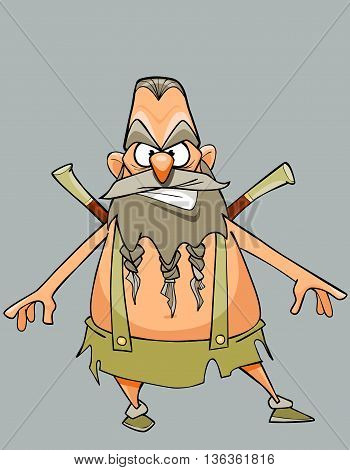 funny cartoon character austere man warrior with a beard and mustache