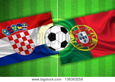 green Soccer / Football field with stripes and flags of croatia - portugal and ball - 3D illustration