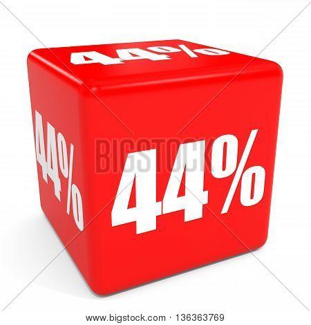 3D Red Sale Cube. 44 Percent Discount.