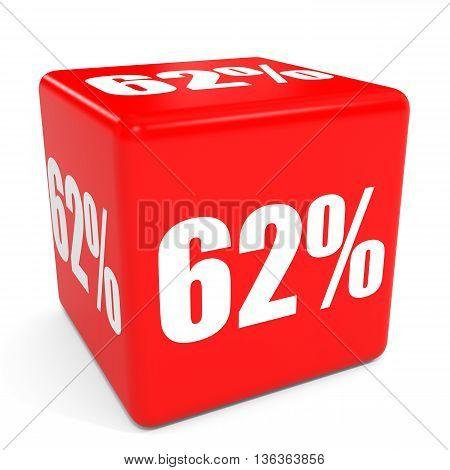 3D Red Sale Cube. 62 Percent Discount.