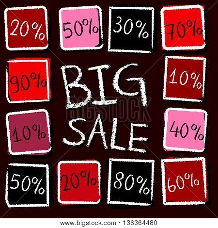 big sale and different percentages - retro style red label with text and squares, business concept, vector