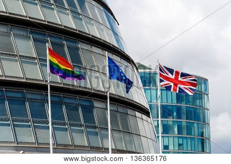 Lgbt Pride Flag, Eu Flag, And Union Jack