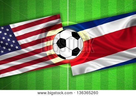 green Soccer / Football field with stripes and flags of usa / america - costa rica and ball - 3D illustration