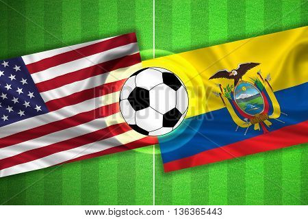 green Soccer / Football field with stripes and flags of usa / america - ecuador and ball - 3D illustration