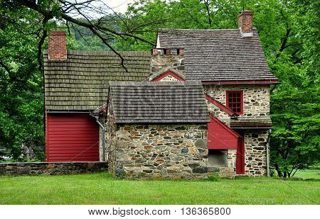 Chadds Ford Pennsylvania - June 2 2015: Gideon Gilpin House used as headquarters by the Marquis de Lafayette during the 1777 Revolutionary War Battle of the Brandywine