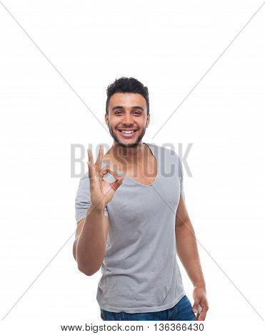 Casual Man Hold Okey Gesture Sign Happy Smile Young Handsome Guy Wear Shirt Jeans Isolated White Background