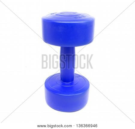 A single dumbell on white background texture