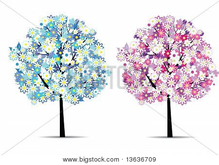 Two Abstract Flower Trees