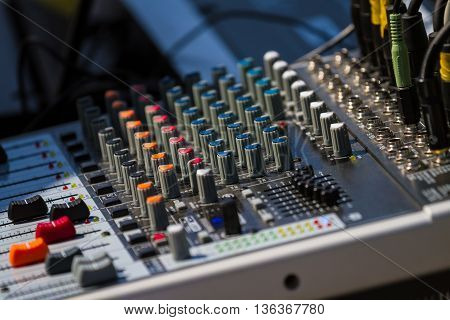 Old Audio Sound Mixer Control Panel