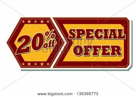20 percentages off discount special offer - retro style red ocher hexagon and flyer label with text and stars, business concept, vector