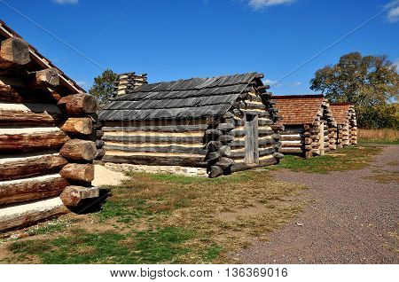 Valley Forge Pennsylvania - October 15 2015: Wooden log cabins housed Continental Army soldiers during the 1777-78 Revolutionary War winter encampment at Valley Forge