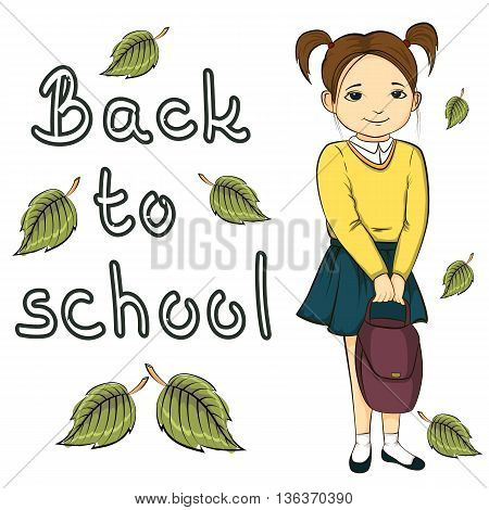 Illustration Of Little Girl With Bag, Back To School Banner Inscription Isolated On White Background
