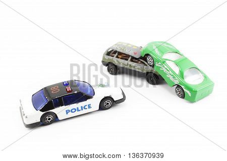 collision two car, police stay in place isolated white background