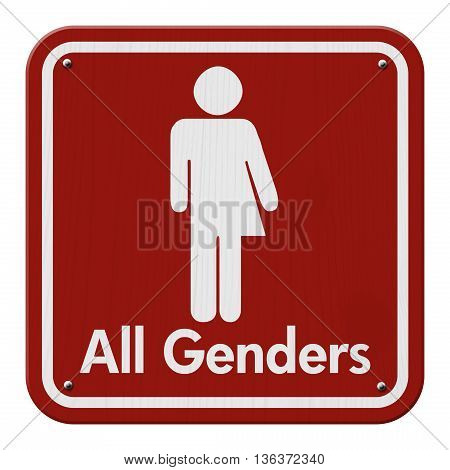 Transgender Sign Red and White Sign with a transgender symbol with text All Genders, 3D Illustration