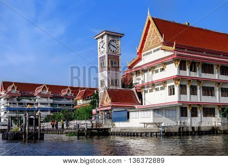 Wat Soi Thong in Bangkok Thailand. The temple is on the banks of the Chao Phraya River in Bang Sue district in northern Bangkok along the regular route of the Chao Phraya river boats.