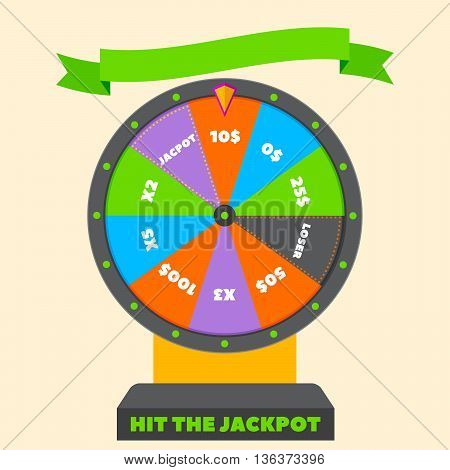 Fortune wheel in flat vector style. Casino. Game for Money. jackpot. big payoff. game of chance. check your luck. winner.