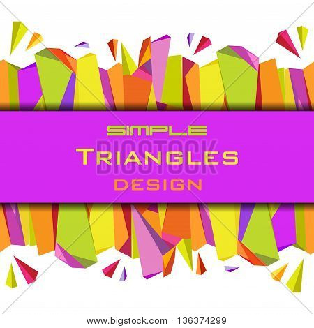 Abstract geometric background. Horizontal colorful border geometric design. Orange, yellow, green and purple geometric abstract triangles border design in white background. Vector stock illustration.