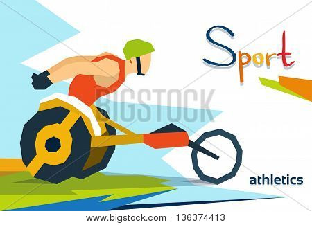 Disabled Race Athlete Wheel Chair Sport Competition Flat Vector Illustration