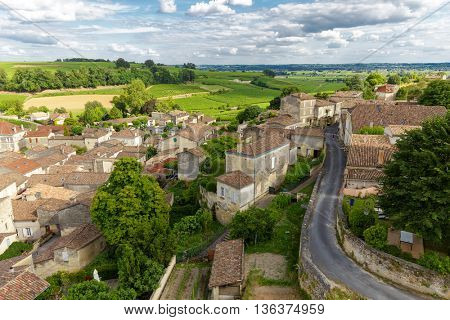 French village and vineyard at Saint Emilion, Unesco heritage near Bordeaux, France