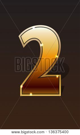 Golden number two on dark background isolated. Golden alphabet. Vector illustration number two for golden best choice design. Vector illustration stock vector.