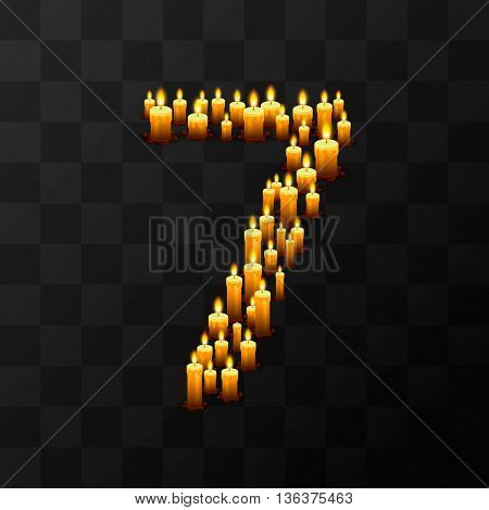 Tribulation numbers 7 of candles, transparent background, template design element