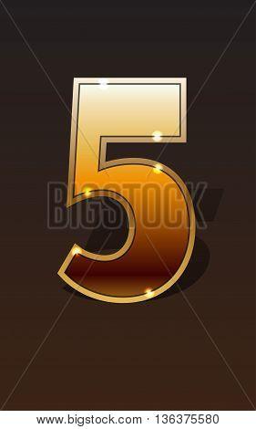 Golden number fivefour on dark background isolated. Golden alphabet. Vector illustration number five for golden best choice design. Vector illustration stock vector.