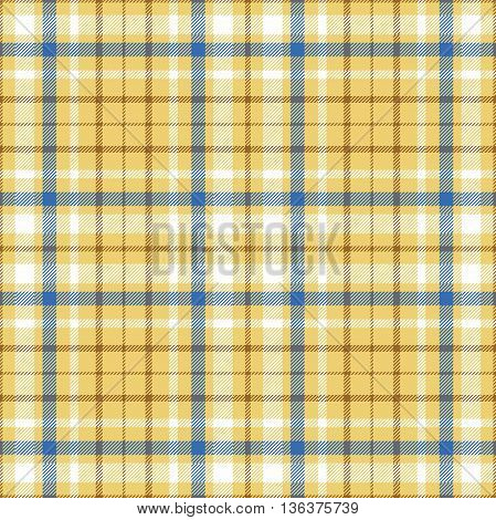 Seamless tartan plaid pattern in white, blue & brown twill stripes on golden sand yellow background.