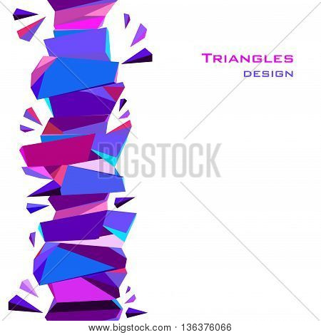 Vertical blue abstract geometric border background design. Blue, red, pink and purple geometric abstract triangles border design in white background. Vector illustration stock vector.