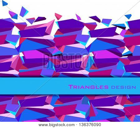 Horizontal raport bottom blue border geometric design. Blue, pink, purple geometric abstract triangles border design background. Blue abstract geometric background. Vector illustration stock vector.