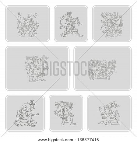 set of monochrome icons with symbols from Aztec codices for your design