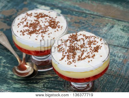 Two traditional strawberry trifle desserts with fresh whipped cream and sprinkled with chocolate