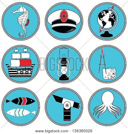 Nautical elements type 3 icons in knotted circle including seahorse, octopus, captains hat,  ship, drawing compass, treasure map, nautical style lamp, fish, globe, beach telescope