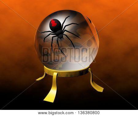 halloween boule de cristal et une araignée