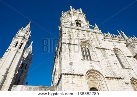 Main facade of Jeronimos Monastery, Lisbon, Portugal.