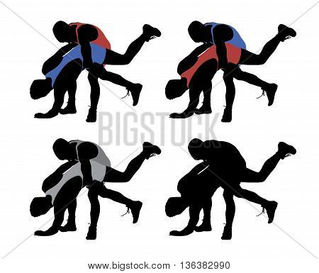 Wrestling. Isolated white background. EPS file available.