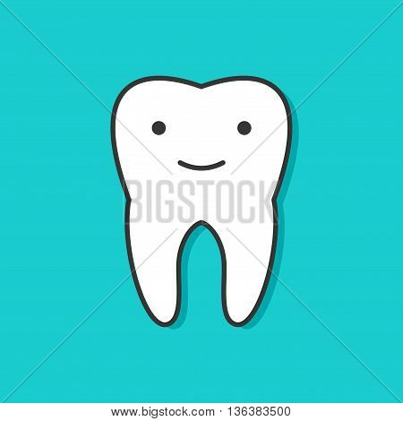 Happy tooth with face icon in flat style isolated on blue background. Health, medical or doctor and dentist children symbols. Oral care, dental icon clinic healthy white tooth in kids cartoon style.