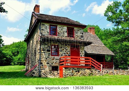 Chadds Ford Pennsylvania - June 9 2015: Gideon Gilpin House used by the Marquis de Lafayette's as his headquarters during the 1777 Revolutionary War Battle of Brandywine *
