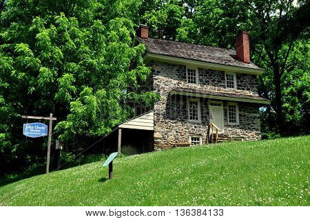 Chadds Ford Pennsylvania - June 9 2015: 1725 fieldstone John Chads' House remains essentially in its original condition