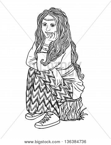 hippie girl with a backpack, bohemian girl, boho style. Illustration for print, clothing design, and web sites. Hippy or hippie philosophy and subculture movement heyday came in the late 1960s -1970s