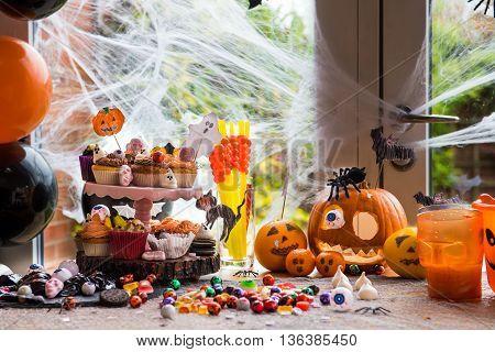 Table Set For Halloween Dinner