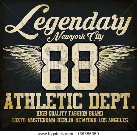 Legendary Athletic Dept. Nyc Varsity Sport vector print and varsity. For t-shirt or other uses in vector.T shirt graphic