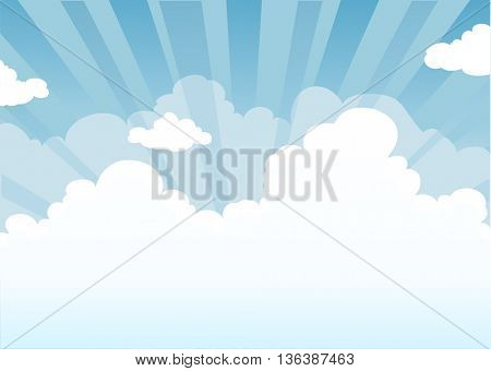 Sky and clouds with place for text. Nature background.