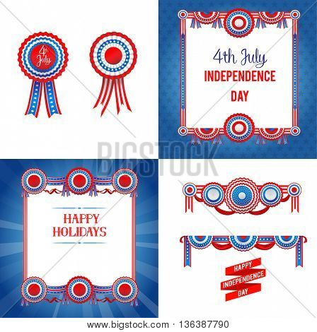 Independence day holiday set. Independence day card. Holiday template for design banner,ticket, leaflet, card, poster and so on.